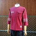 West Coast based Street style BRAVER bureiba Pocket sleeves printed bandana print 7-sleeves T shirt wine