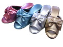 Ribbon x combination skin shiny heel slippers (S, M, L sizes)