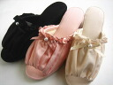 Moire gathers ribbon heel slippers (S, M, L)