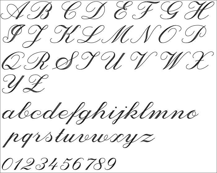 無料 アルファベット表 無料 : 筆記体風の書体です。流れる ...