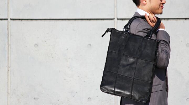 「ビジネスにもカジュアルにも / 縦型 2WAY ショルダートートバッグ」TOTE BAG / GB701