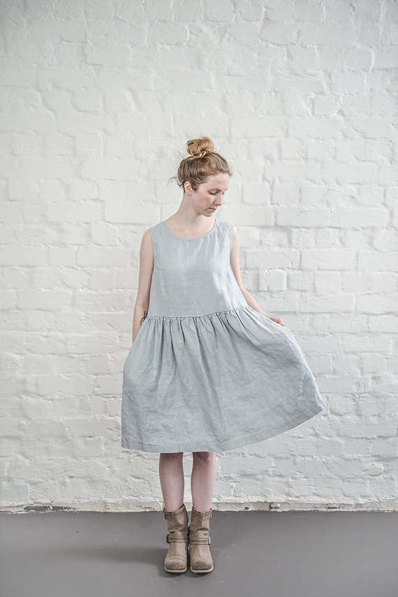 not perfect linen linen dress washed silver uk8 s hafen. Black Bedroom Furniture Sets. Home Design Ideas