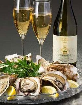 岩ガキとシャブリ(白ワイン)