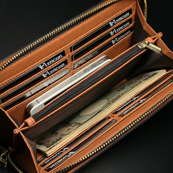 ラウンド長財布 メンズ スペインレザー 牛革 多機能 セカンドバッグ VACUA(2色)【VA-003】イメージ写真3