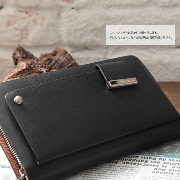 ラウンド長財布 メンズ スペインレザー 牛革 多機能 セカンドバッグ VACUA(2色)【VA-003】イメージ写真9