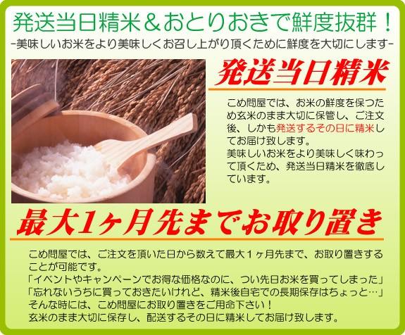 発送当日精米&選べる荷姿で鮮度抜群!-美味しいお米をより美味しくお召し上がり頂くために鮮度を大切にします-発送当日精米こめ問屋では、お米の鮮度を保つため玄米のまま大切に保管し、ご注文後しかも発送するその日に精米してお届けいたします。美味しいお米をより美味しく味わって頂くため、発送当日精米を徹底しています。最大一カ月先までお取り置きこめ問屋では、ご注文頂いた日から数えて最大一カ月先まで、お取り置きすることが可能です。「イベントやキャンペーンでお得な価格なのに、つい先日お米を買ってしまった」そんな時には、こめ問屋にお取り置きをご用命下さい!玄米のまま大切に保管し、配送するその日に精米してお届け致します。」