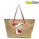 GUCCI Gucci 212375 Gucci GR Chihuahuas GG canvas tote bag beige x red used