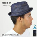 NEW YORK HAT New York hat pork pie hat men gap Dis Denim Stitch Stingy BLUE #305910P10Nov13