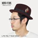 NEW YORK HAT Lite Felt the Tear Drop (New York Hat Fedora hat of caps and men's Burgundy mens Hat dark ladies #5329)