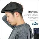 NEW YORK HAT New York hat Denim Stitch Newsboy [all two colors] denim newsboy hunting cap casquette black blue men gap Dis hat #6103