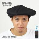 NEW YORK HAT Linen Big Apple [BLACK] (New York hat linen big apple hemp hunting cap casquette black men gap Dis hat John Lennon habitual use model Made in USA #6200))