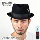NEW YORK HAT Lite Felt the Tear Drop (the Hat Black mens ladies New York Hat caps Stetson hats #5329)