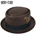 NEW YORK HAT New York hat Straw Porkpie straw hat [BROWN] pork pie straw hat men gap Dis Kankan hat brown #2308