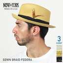 NEW YORK HAT Sewn Braid Fedora # (New York Hat ソウンブレイドフェドラ straw hat straw hats caps & bamboo mens Womens 2319)