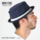 NEW YORK HAT Cotton Stingy (the Navy mens ladies Hat hats New York cotton スティンギー pork pie Hat #3061)