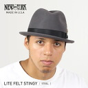 NEW YORK HAT Lite Felt Stingy (USA in men's women's hats Made, New York Hat gray of a Fedora Hat #5325)