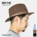 NEW YORK HAT New York Hat Homestead brim wide in wool hat folding [2 colors, caps & hats Black Brown mens men's men's American-made Fedora MADE IN USA #5035
