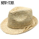 NEW YORK HAT Raffia Fedora (shade ladies natural straw hat mens, New York Hat straw hat of ラフィアフェドラ #7110)
