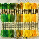 The finest embroidery threads from DMC embroidery thread 25 thread green yellow 17 colors, rich color and easy to use