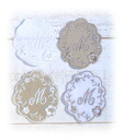 Linen fabric large size initial motif patch set 4 pieces