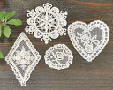 Antique motif 4 heart snow Crystal emblem ellipse