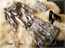 Elegant gray silk one-piece dress * wedding * party * party dress cheap womens limited ** cheap ladies limited] 645 autumn new larger size