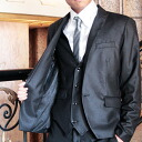 Three-piece suit, luster on the small side suit ,PRiZM mat lam suit, men's suit, wedding ceremony suit, award ceremony suit, commendation ceremony suit ,02P21Aug14
