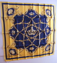 ★88*88 HERMES HERMES scarf ♪ dark blue X yellow ★ new article-free article ♪: 410693