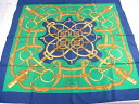 Points 3 times ★ Hermes ★ HERMES scarf 88 × 88 ♪ blue x green ★ unread items
