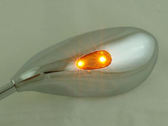 汎用 ウインカー付 メッキ ティアドロップミラー 正ネジ 10mm LEDランプ内蔵 カスタム パーツ