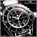 Charles-Holger /Charles Vogele / analog quartz movement / watch list watch list ( watch ) / 10 pressure waterproof / made in Japan quartz movement / women's / ladies / ceramic black x stainless steel Silver x-snow white /CV-7844-3 fs2gm