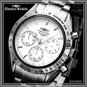 Charles Hagel Charles-Holger /Charles Vogele / chronograph analogue / made in Japan quartz movement / watch list watch list ( watch ) / 10 ATM water resistant / stainless steel / Jet Black * stainless steel and silver /CV-7871-2 fs2gm