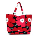 Marimekko Marimekko Tote unikko large tote canvas shoulder bag ladies bag red black 038151 934