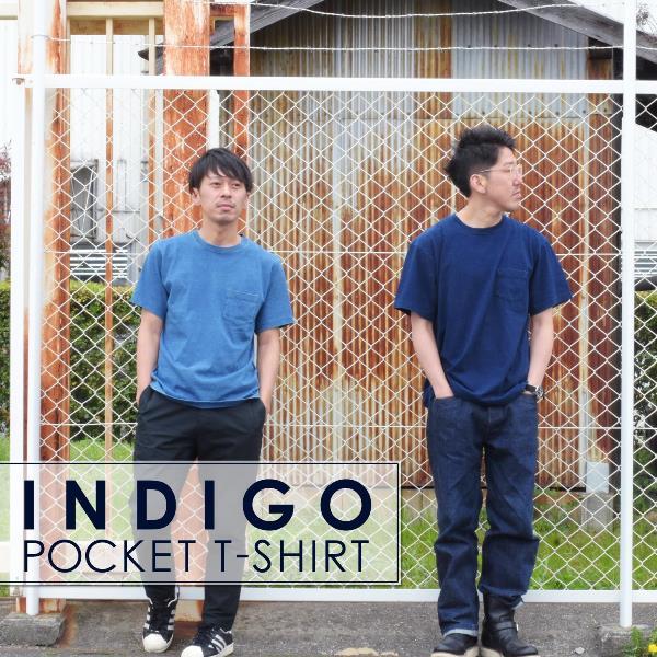 インディゴ 半袖 Tシャツ ポケット付 デニム ウォッシュ メンズ