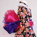 Shipping 160 yen Rakuten ranking 1st place! The kids zone! Heko sparkling ☆ child kimono dress 2 piece set kimono dress up fluffy Princess belt purple x cherry 七五三