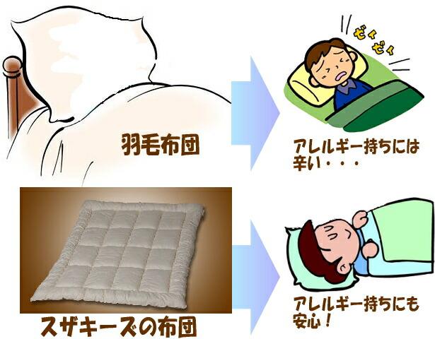 羽毛布団のように軽くて暖かいのに、しっかりとアレルギー対策がされています