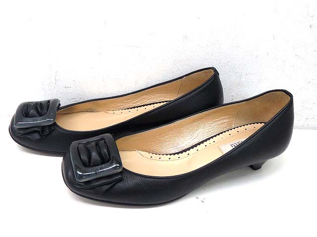 ピッティpittiローヒールレザーパンプス23EE黒ブラック靴レディース【ベクトル古着】【中古