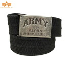 ALPHA Alpha-Tin BOX canvas ARMY logo GI belt black with nice private Tin BOX with a massive buckle exquisite workmanship