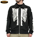 & Body ★ VANSON Vanson NVSZ-105 HUMAN BONE ZIP UP track jacket BLACK×WHITE stretch that allows ease movement ensuring