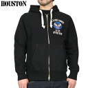 Thick fabric firm HOUSTON Houston 20696 U.S.AIR FORCE ミリタリースウェット parka BLACK U.S.AIR FORCE embroidered point COTTON 100%