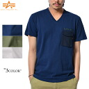 ALPHA Alpha 23229 S/S M-65 TYPE V neck pocket T shirt familiar ALPHA IND... printed with the name patch image deployment design theme in the M-65 series