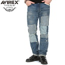"AVIREX-avirex TYPE BLUE ""CHUCK"" NARROW repair denim pants USED WASH awaited denim TYPE BLUE 5 ポケットデザイン repair textured expressed everywhere can feel the meticulous design"