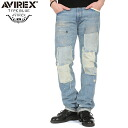 "AVIREX-avirex TYPE BLUE ""CHUCK"" NARROW repair denim W/USED WASH awaited denim TYPE BLUE 5 ポケットデザイン repair textured expressed everywhere can feel the meticulous design"