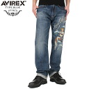 "AVIREX-avirex TYPE BLUE ""CHUCK"" REGULAR FIT pin-up girl denim pants USED WASH classic 5 ポケットデザイン on meticulous originality with ""PINUP GIRL"" paint stencil designs"