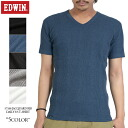 Three-dimensional look in EDWIN Edwin daily were 57188 RIB V-NECK T shirt Jacquard knitted Jacquard rib T shirt stretch of the excellent and outstanding wearing comfort