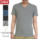Three-dimensional look in EDWIN Edwin daily were 57184 hankamwaffle V-NECK T shirt waffle material honeycomb T shirt stretch of excellent and outstanding wearing comfort
