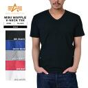 ALPHA Alpha 23255 mini waffle V Neck T shirt