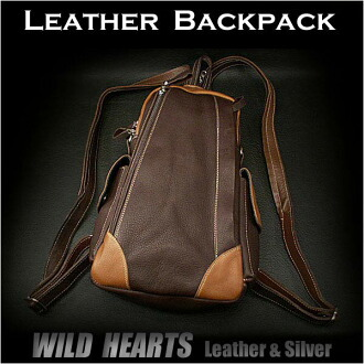 真皮背包/单肩吊带袋/背带背包/背包/男女通用 / Genuine Leather backpack/shoulder sling bag/Sling backpack/travel bag/Purse/WILD HEARTS Leather&Silver