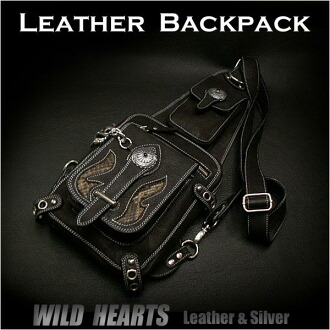 真皮2路背包肩背包旅行包 Genuine Leather 2 Way Backpack Shoulder Sling Bag Travel WILD HEARTS Leather&Silver (ID bb1605t31)