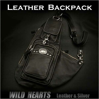 真皮背包肩胸包攝影雙肩背包挎包黑色 Genuine Leather Backpack Shoulder Chest Pack Daypack Sling Bag Black WILD HEARTS Leather&Silver (Item ID bb2113t21)